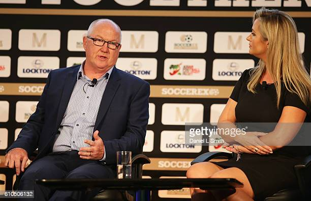 Les Reed Southampton Executive Director talks with Hayley McQueen Sky Sports presenter during day 1 of the Soccerex Global Convention 2016 at...