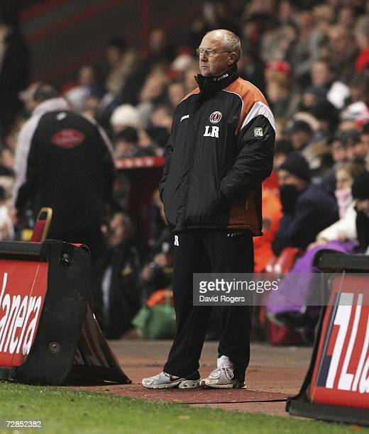 Les Reed the Charlton Athletic manager looks dejected as his side head to defeat the Carling Cup Quarter Final match between Charlton Athletic and...