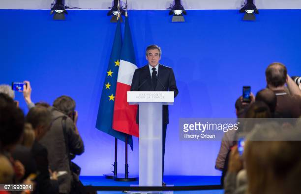 Les Republicains candidate Francois Fillon delivers a speech after projected results suggest he has been defeated in the French Presidential...