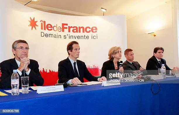 Les Republicains' member and president of the regional council of the Ile-de-France region Valerie Pecresse gives a press conference with Security...