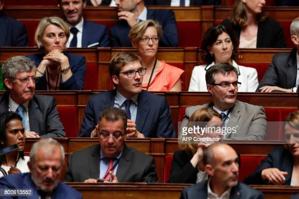 Les Republicains party's Member of Parliament, Robin Reda attends a session on June 28, 2017 at the National Assembly in Paris, one day after the...