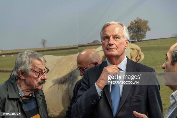 """Les Republicains Presidential candidate Michel Barnier looks on during the inauguration of the 10,000 square metre Hall 2 at the 30th """"Sommet de..."""