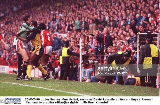 Les Sealey Manchester United restrains David Rocastle as Anders Limpar Arsenal lies next to a police officer