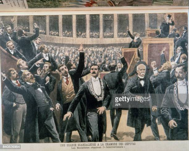 Les socialistes chantant 'L'Internationale' à la chambre des députés illustration du 'Petit Journal' en 1909