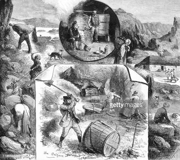 Les étapes de la contrebande de whisky au Royaume-Uni, en 1883.