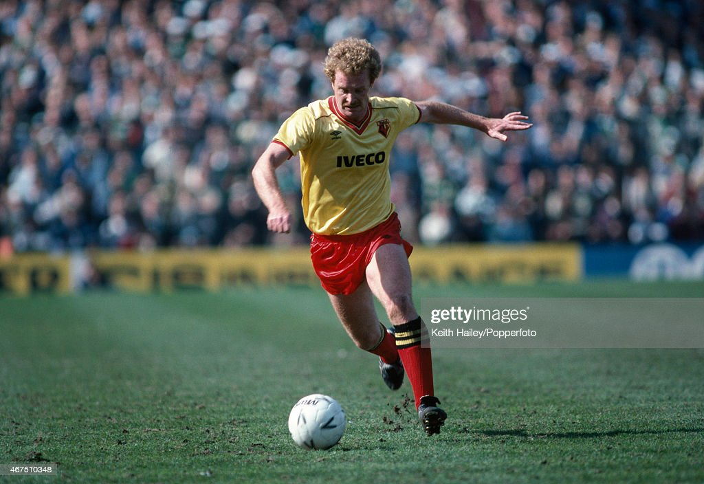 Les Taylor in action for Watford during the FA Cup Semi-Final against Plymouth Argyle at Villa Park in Birmingham, 14th April 1984. Watford won 1-0.