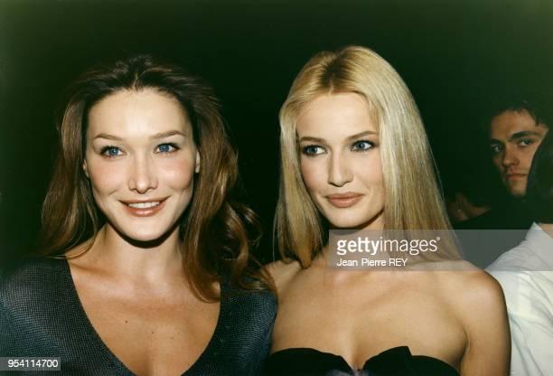 Les top models Carla Bruni et Karen Mulder lors d'une soirée le 3 mai 1995 à Monaco