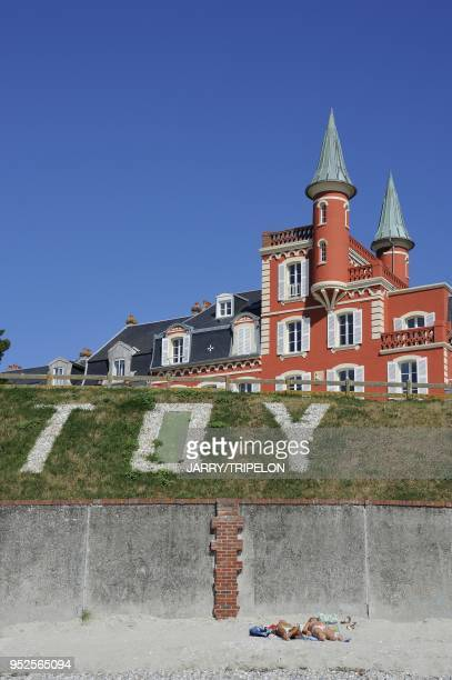 Les Tourelles hotel and the beach of Le Crotoy Baie de Somme and Cote d'Opale area Somme department Picardie region France