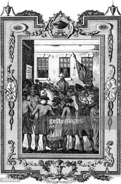 Les Treize colonies d'Amérique déclarant leur indépendance du Royaume de Grande-Bretagne, aux Etats-Unis.