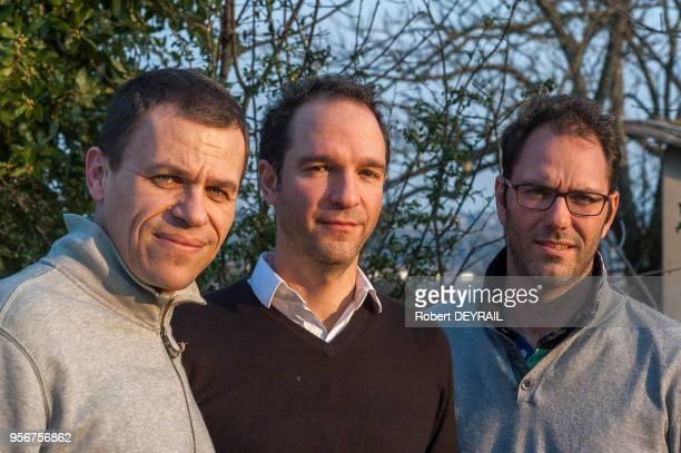 Les trois fondateurs de l'association 'La Parole Libérée' Bertrand Virieux secrétaire Alexandre Dussot trésorier et François Devaux président de...