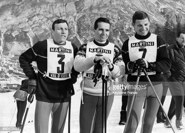 Les trois Français qui ont remporté les trois premières places avec de gauche à droite Arpin François Bonlieu et Guy Perillat à Val d'Isère France le...