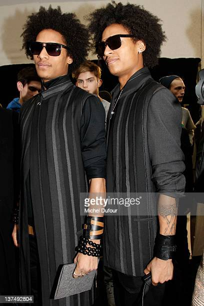 Les Twins attend the Dior Homme Menswear Autumn/Winter 2013 show as part of Paris Fashion Week on January 21 2012 in Paris France