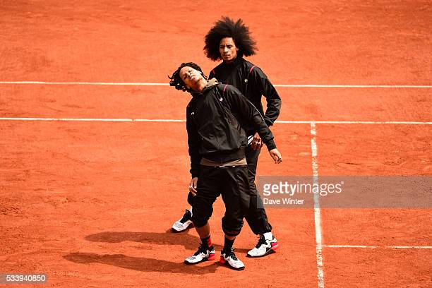 Les Twins Laurent and Larry Bourgeois perform at the Kids' Day during the French Open 2016 on May 21 2016 in Paris France