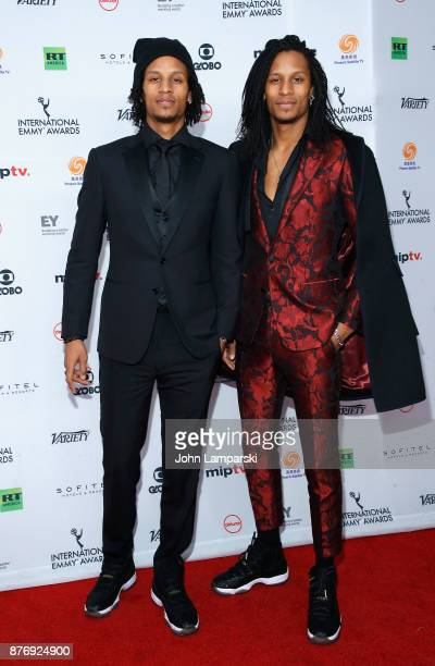 Les Twins Laurent Nicolas Bourgeois and Larry Nicolas Bourgeois attend 45th International Emmy Awards at New York Hilton on November 20 2017 in New...