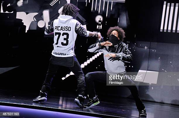 Les Twins perform on stage at Google presents YouTube Brandcast event at The Theater at Madison Square Garden on April 30 2014 in New York City