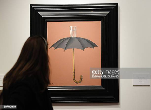 'Les Vacances de Hegel' by Rene Magritte is on display at Christie's during a preview of their Impressionist and Modern Art sale in New York October...