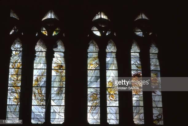 Les vitraux réalisés par Marc Chagall dans la cathédrale St-Etienne de Metz, en Moselle, France.
