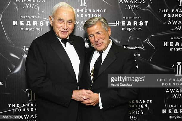 Les Wexner and Ed Razek pose backstage at the 2016 Fragrance Foundation Awards presented by Hearst Magazines Show on June 7 2016 in New York City