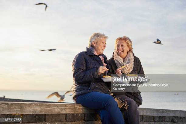 lesbian couple eating fries by sea - friendship stock pictures, royalty-free photos & images