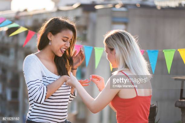 Lesbian couple getting engaged