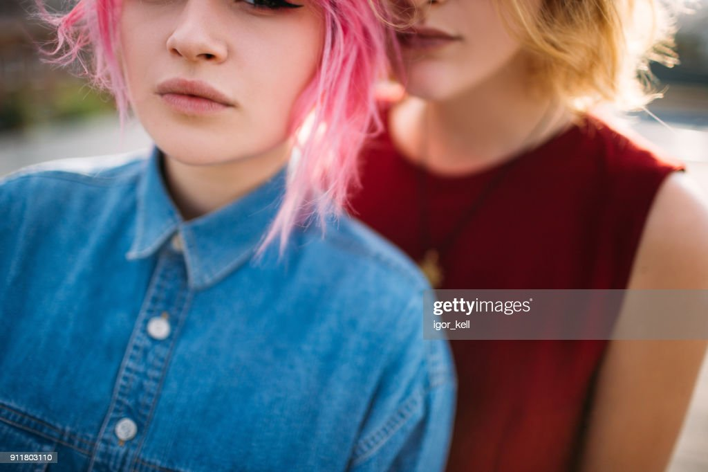 lesbian couple girls hug homosexual romance : Stock Photo