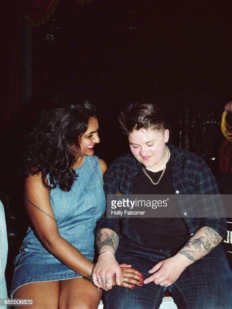 Lesbian couple in a club