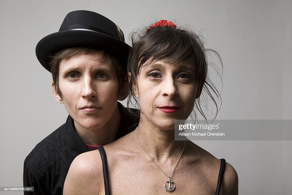 Lesbian couple, portrait, close-up : Stockfoto