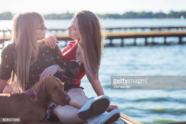 lesbian couple with dog's - hunting dog stock pictures, royalty-free photos & images