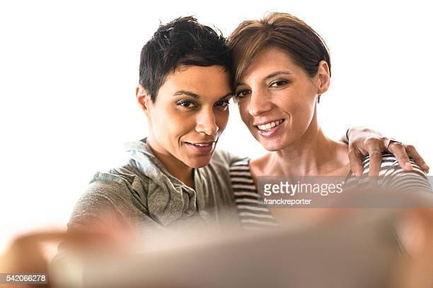 Lesbian friends taking a self portrait