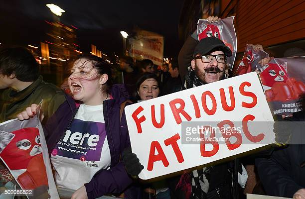 Lesbian Gay Bisexual and Transgender supporters protest at the BBC Sports Personality of the Year awards taking place at the SSE Arena on December 20...