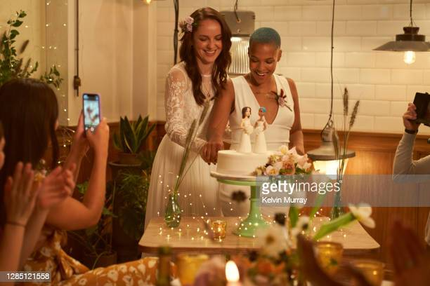 lesbian same sex wedding and friends having a wedding dinner party - {{relatedsearchurl(carousel.phrase)}} stock pictures, royalty-free photos & images