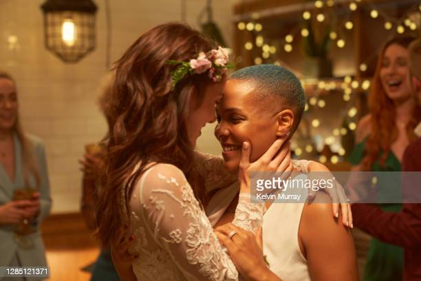 lesbian same sex wedding party. - wedding stock pictures, royalty-free photos & images
