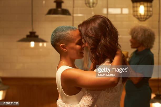 lesbian same sex wedding party. - politics and government stock pictures, royalty-free photos & images