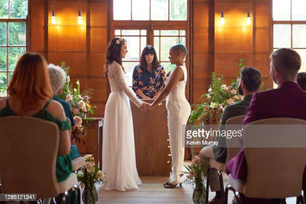 lesbian same sex wedding - wedding stock pictures, royalty-free photos & images