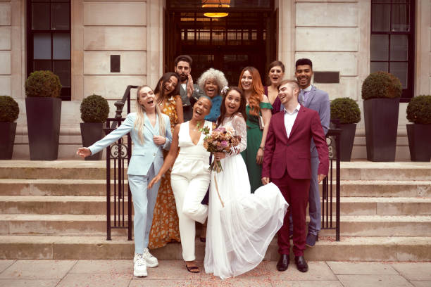 lesbian wedding with friends - wedding stock pictures, royalty-free photos & images