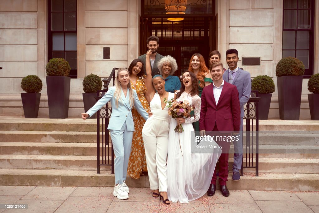 Lesbian wedding with friends : Stock Photo