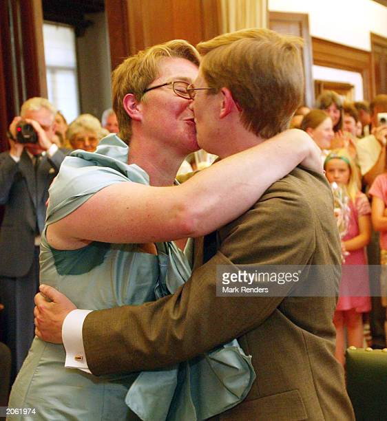 Lesbians Marion Huibrecht and Christel Verswyvelen celebrate their marriage June 6 2003 in Antwerp Belgium Huibrecht and Verswyvelen became the first...