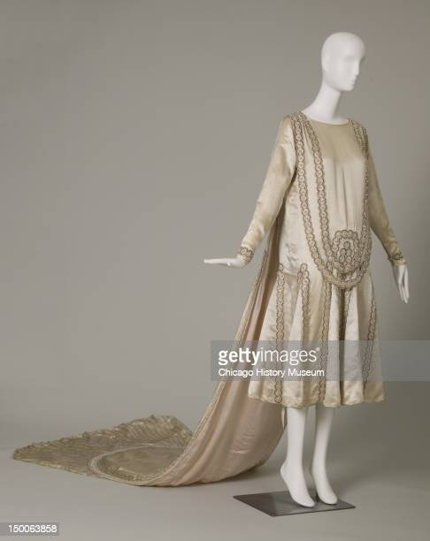 Lesbos wedding dress 1925 Silk satin pearls glass beads metallic thread by Jeanne Lanvin