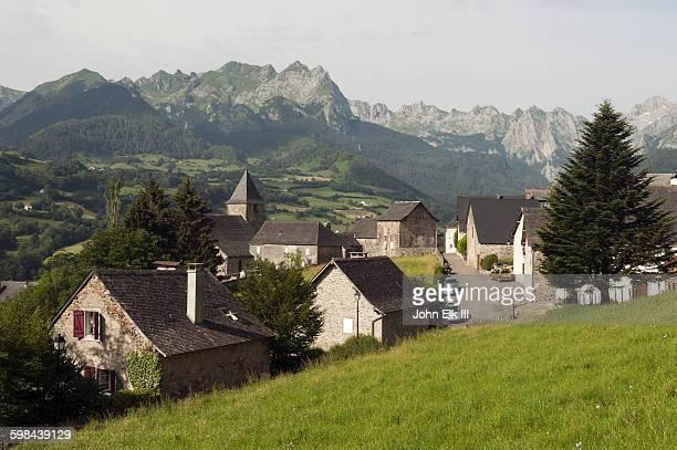 Lescun, village with mountain landscape