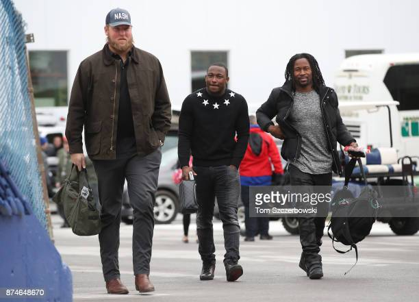 LeSean McCoy of the Buffalo Bills and Conor McDermott arrive at the stadium before the start of NFL game action against the New Orleans Saints at New...