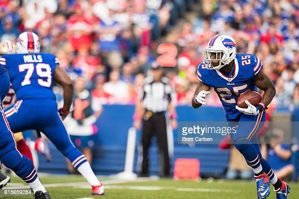 LeSean McCoy of the Buffalo Bills carries the ball during the second half against the San Francisco 49ers on October 16 2016 at New Era Field in...