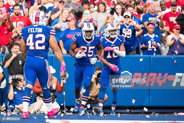 LeSean McCoy of the Buffalo Bills celebrates a touchdown during the second half against the San Francisco 49ers on October 16 2016 at New Era Field...