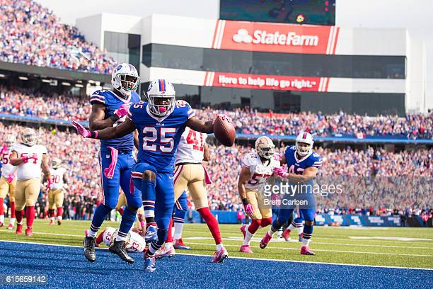 LeSean McCoy of the Buffalo Bills celebrates a touchdown run during the first half against the San Francisco 49ers on October 16 2016 at New Era...