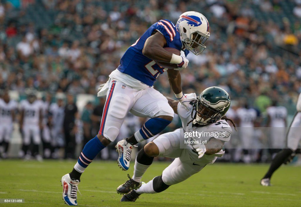 LeSean McCoy #25 of the Buffalo Bills runs the ball against Ronald Darby #35 of the Philadelphia Eagles in the first quarter of the preseason game at Lincoln Financial Field on August 17, 2017 in Philadelphia, Pennsylvania.