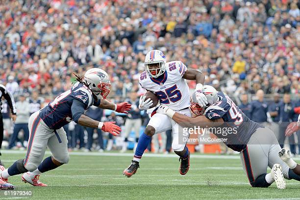 LeSean McCoy of the Buffalo Bills runs the ball in the first quarter against the New England Patriots at Gillette Stadium on October 2 2016 in...