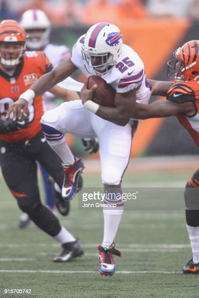 LeSean McCoy of the Buffalo Bills runs the football upfield during the game against the Cincinnati Bengals at Paul Brown Stadium on Ocotber 8 2017 in...