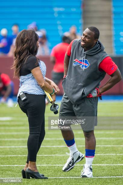 LeSean McCoy of the Buffalo Bills speaks with Fox Sports NFL sideline reporter Pam Oliver before the preseason game against the Cincinnati Bengals at...