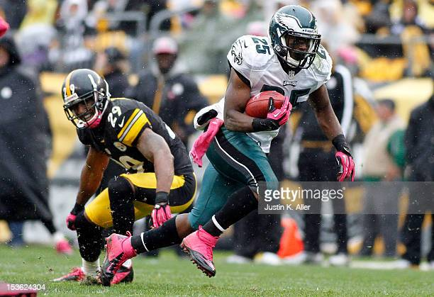 LeSean McCoy of the Philadelphia Eagles carries the ball against the Pittsburgh Steelers during the game on October 7 2012 at Heinz Field in...