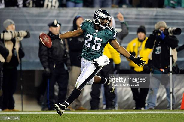 LeSean McCoy of the Philadelphia Eagles celebrates after scoring a touchdown against the New York Jets at Lincoln Financial Field on December 18 2011...