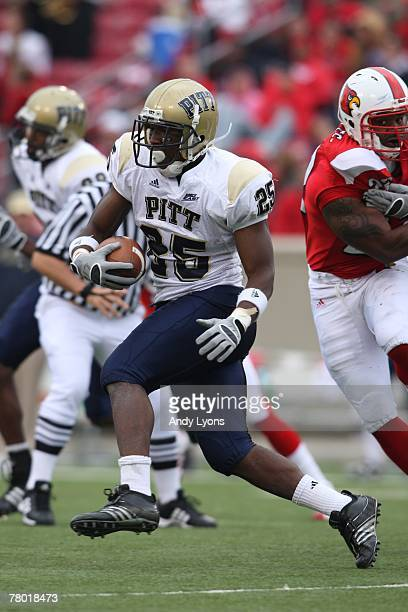 LeSean McCoy of the Pittsburgh Panthers carries the ball during the game against the Louisville Cardinals at Papa Johns Cardinal Stadium on October...